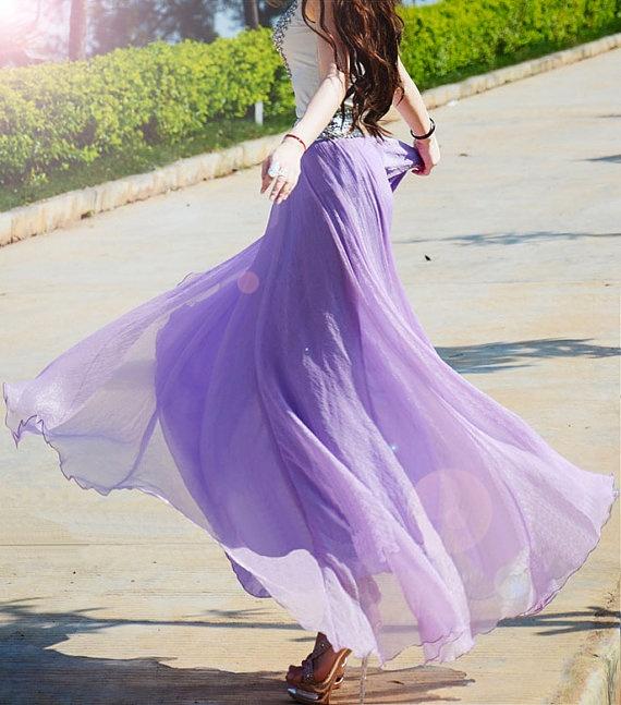 Silk chiffon skirts